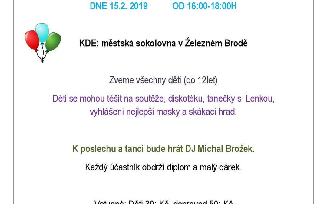 Maškarní bál pro děti 15. 2. 2019